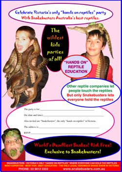 kid's reptile party Melbourne