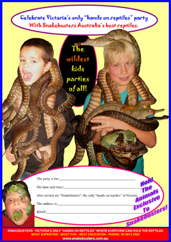 kids reptile party Melbourne hands on
